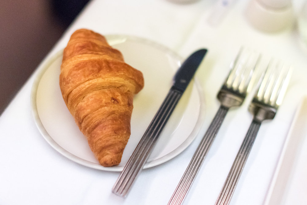 Croissant and Butter - Breakfast Service  Singapore Airlines Business Class SQ285 A380-800 - SIN to AKL
