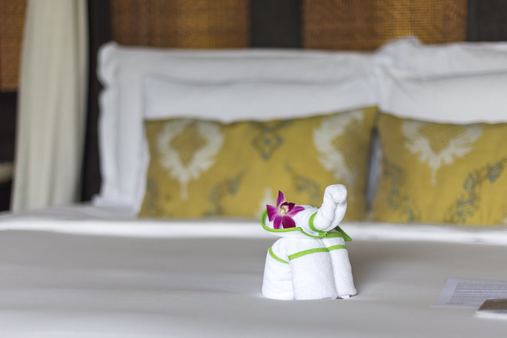 Towel Elephant on the Bed  Lagoon Pool Villa - Anantara Mai Khao Phuket Villas