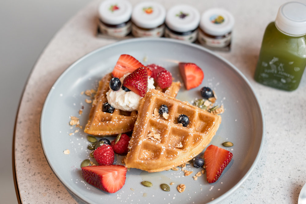 Freshly-made Waffles  Icehaus - Andaz Singapore