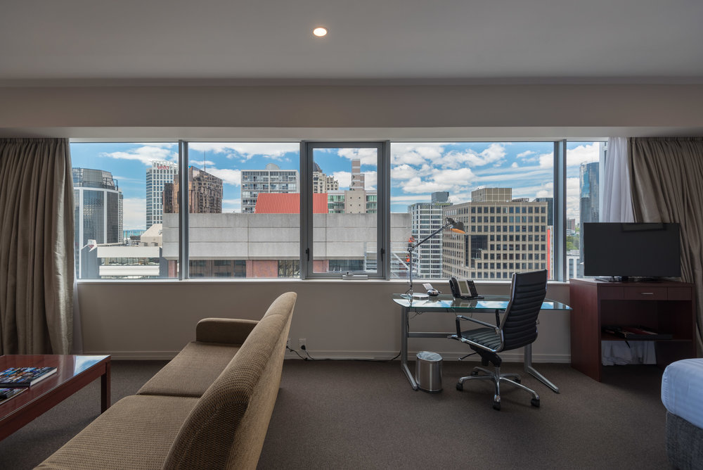 Work Desk with a View  King Residence Suite - Rydges Auckland