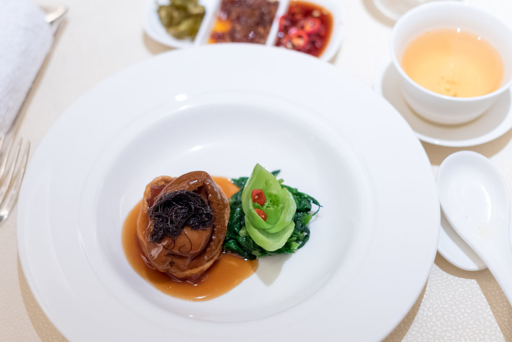 Braised Australian Abalone in Japanese Beancurd with Black Moss, Chinese Mushroom and Seasonal Vegetables  Golden Peony - Conrad Centennial Singapore