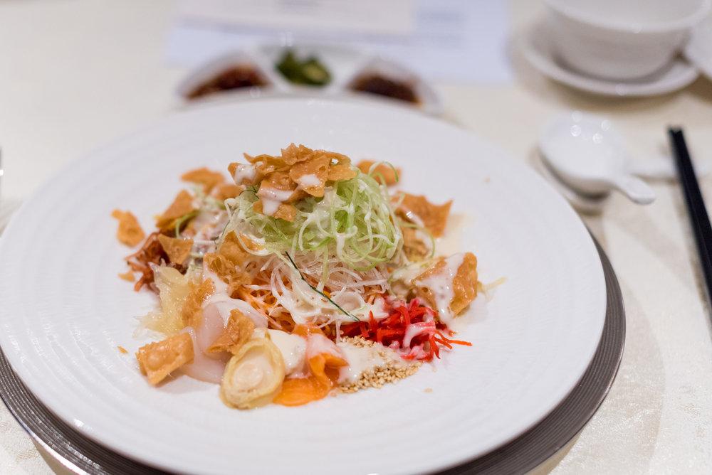 Treasures Yu Sheng, Baby Abalone, Hokkaido Scallops, Salmon, Sake Goma Sesame Sauce  Man Fu Yuan - InterContinental Singapore