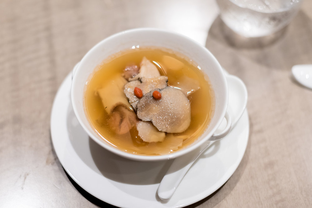 Double-Boiled Pork Ribs Soup with Sea Whelk, Maka and Dried Scallops  Jiang-Nan Chun - Four Seasons Hotel Singapore