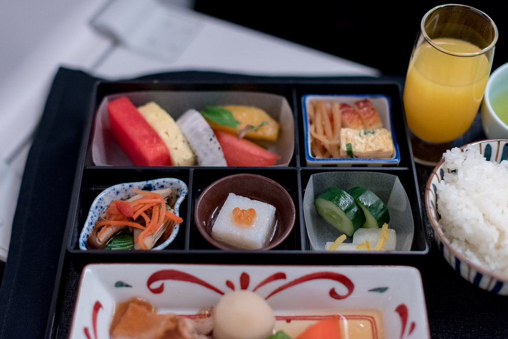Appetiser - Breakfast Service  Japan Airlines Business Class JL36 777-200ER - SIN to HND