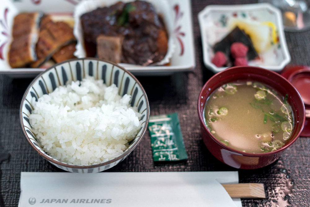 Steamed Rice and Miso Soup  Japan Airlines Business Class JL31 777-200ER - HND to BKK
