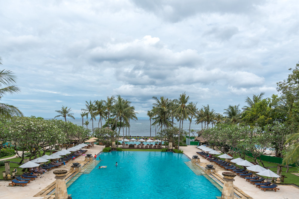 View of Main Swimming Pool from Lobby  Conrad Bali