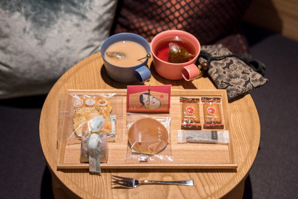 Complimentary Seasonal Snacks   Ochanoma Lounge - HOSHINOYA Tokyo