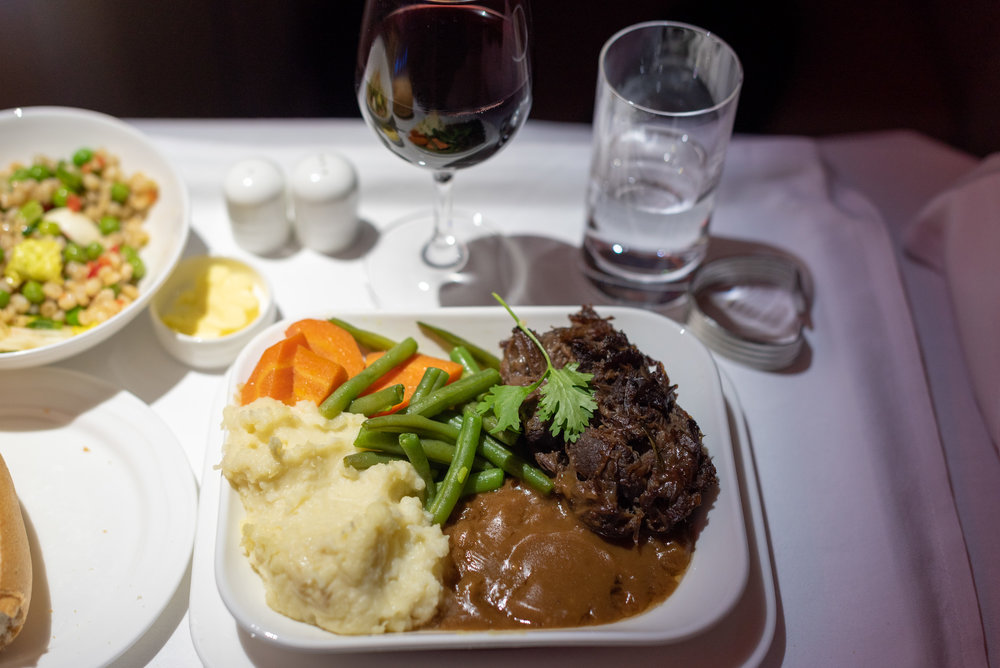 Braised Veal Cheeks  Emirates Business Class EK203 A380-800 - DXB to JFK