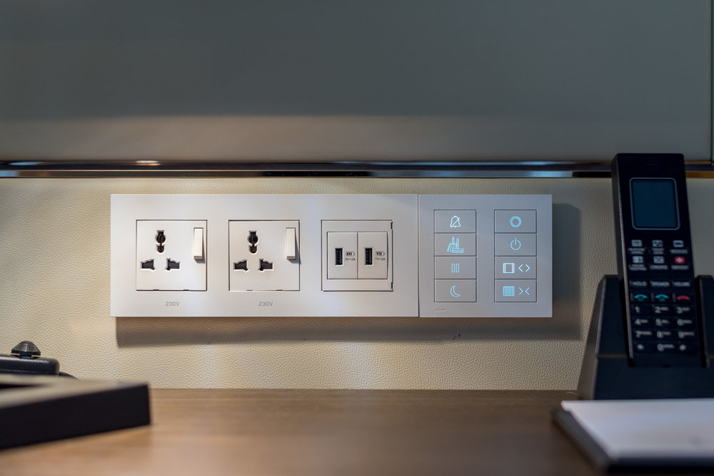 Universal Power Outlets and USB Charging Ports  Four Seasons Executive Suite - Four Seasons Hotel Singapore