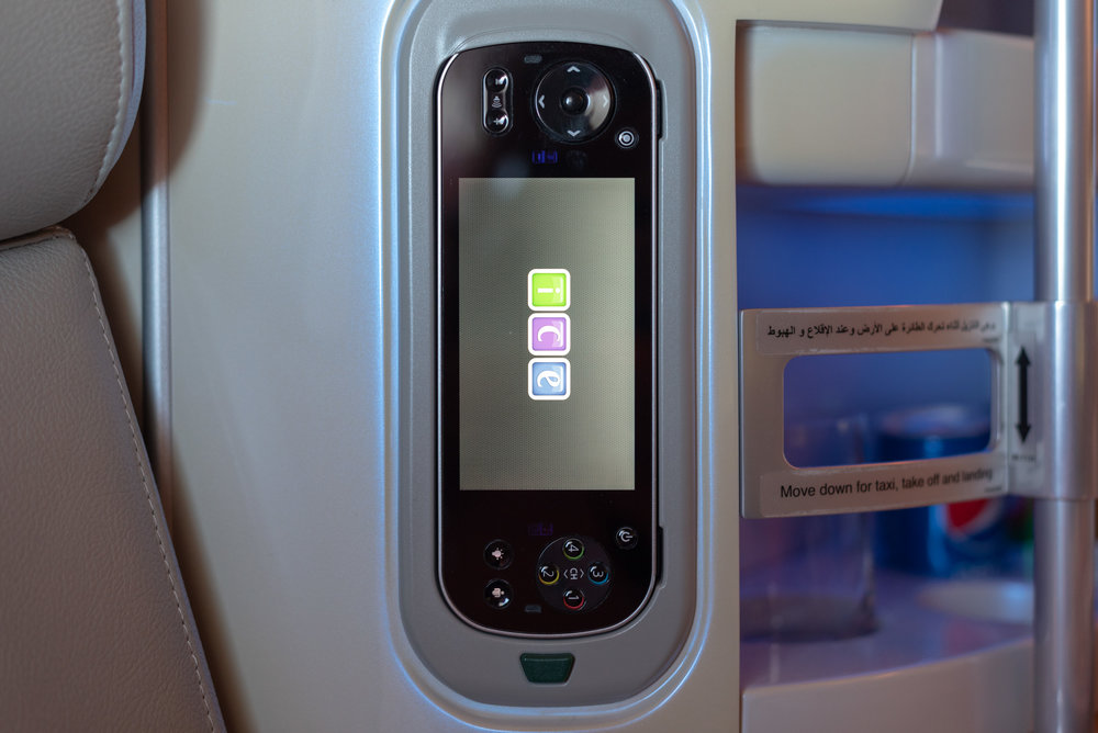 Remote Control for IFE System  Emirates Business Class EK203 A380-800 - DXB to JFK