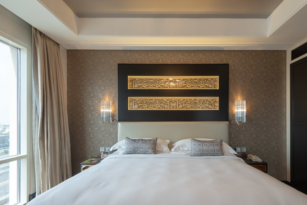 King-size Bed  Corner Suite - Kempinski Hotel Mall of the Emirates