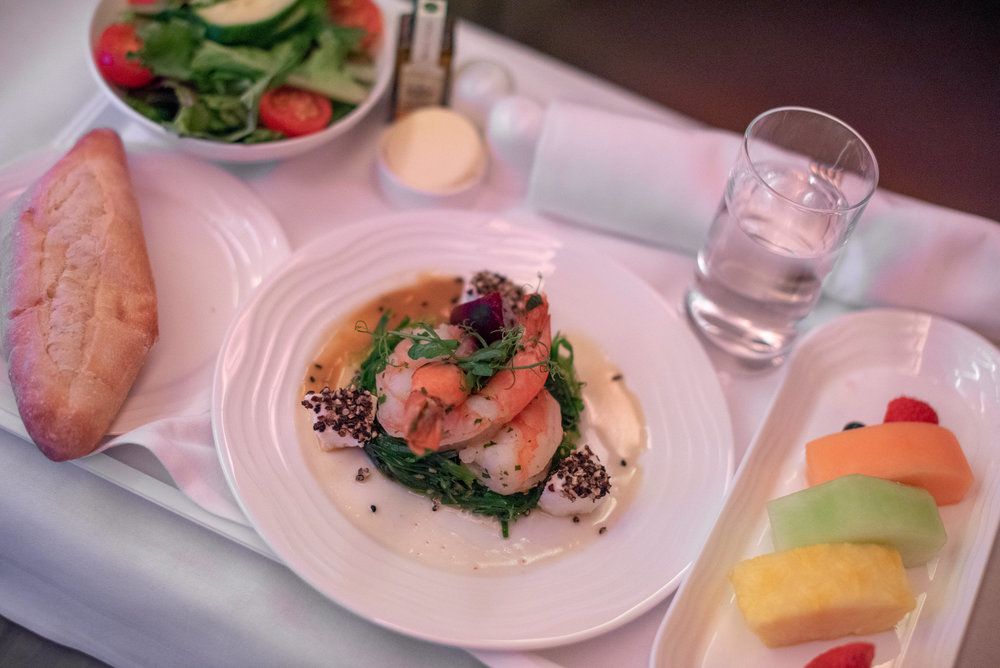 Pan-fried Prawns on Wakame Salad  Emirates Business Class EK202 A380-800 - JFK to DXB