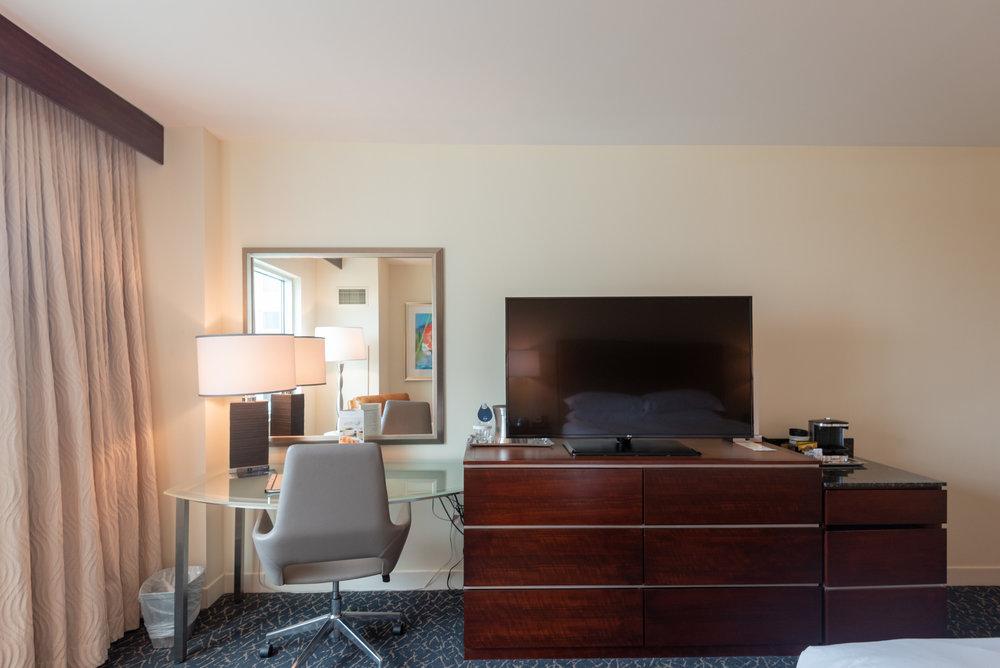 Work Desk and TV  Pool View Room - Hilton Orlando