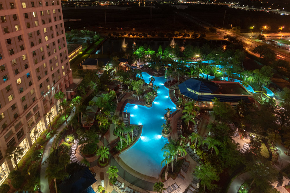 Night View from Room  Pool View Room - Hilton Orlando