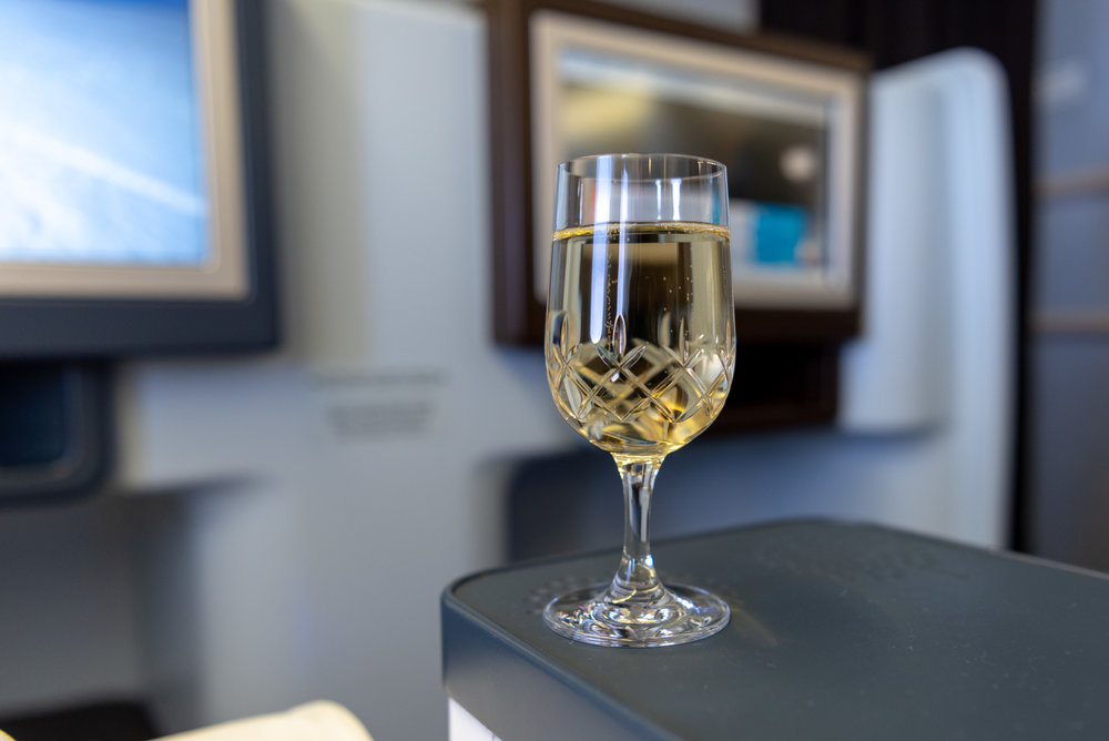 Champagne before Take-off  KLM Business Class KL835 777-300ER - SIN to DPS