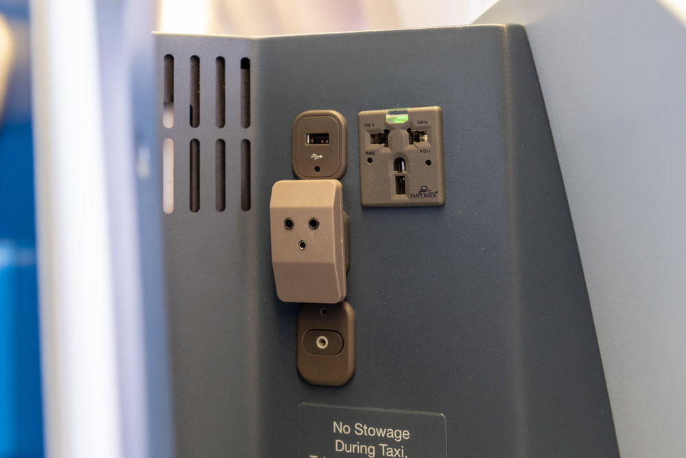 Universal Power Outlet and USB Charging Port  KLM Business Class KL835 777-300ER - SIN to DPS