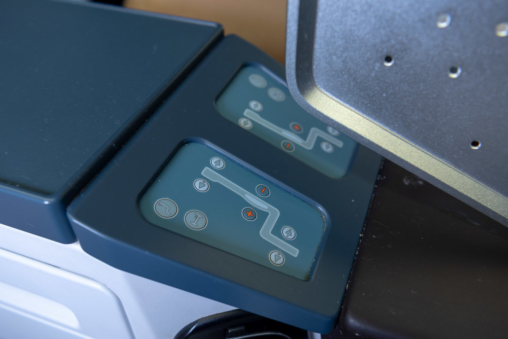 Seat Controls in Business Class  KLM Business Class KL835 777-300ER - SIN to DPS