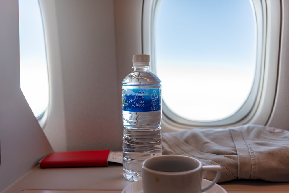 Bottled Water  Japan Airlines Business Class JL37 - HND to SIN