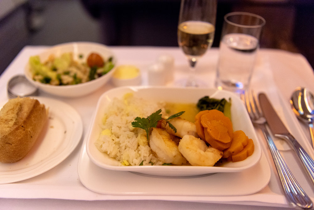 Grilled King Prawns  Emirates EK352 Business Class 777-300ER - DXB to SIN