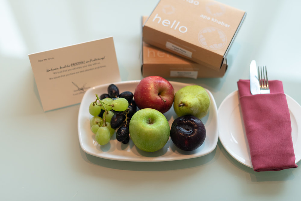 Welcome Amenities  Orchid Club Junior Suite - PARKROYAL on Pickering