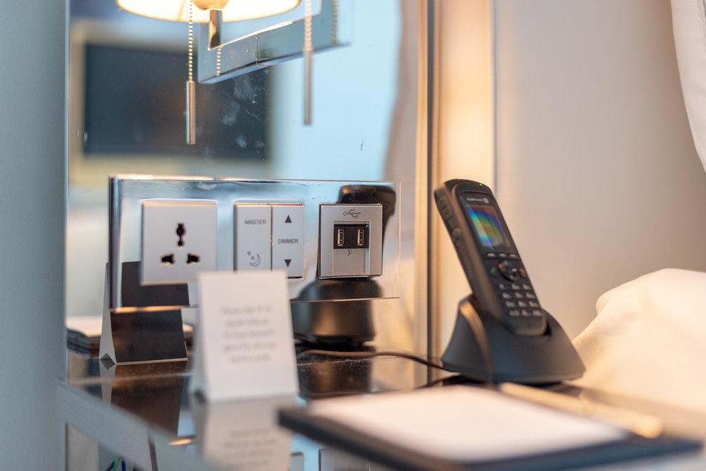 Bedside Controls  Premier Marina Bay View Room . JW Marriott Hotel Singapore South Beach