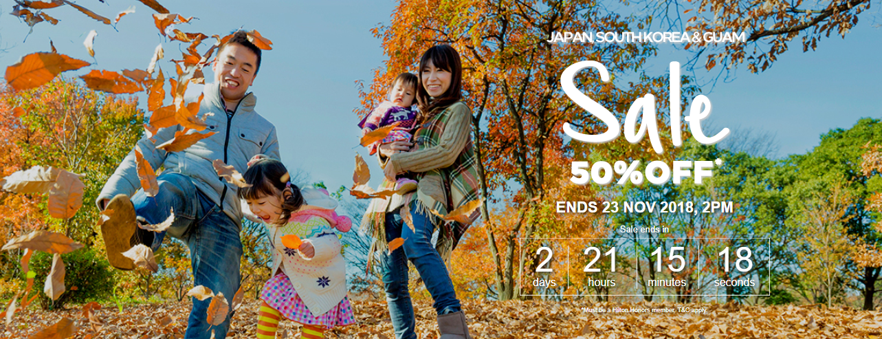 50% Off Flash Sale for Hilton Stays in Japan, Korea, Guam and