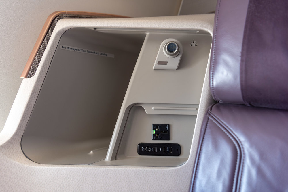 Storage Compartment  Singapore Airlines Business Class SQ828 777-300ER - SIN to PVG