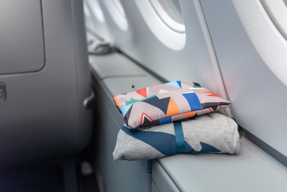 Amenity Kit and Pyjamas  Qantas Business Class QF36 A380-800 - SIN to MEL