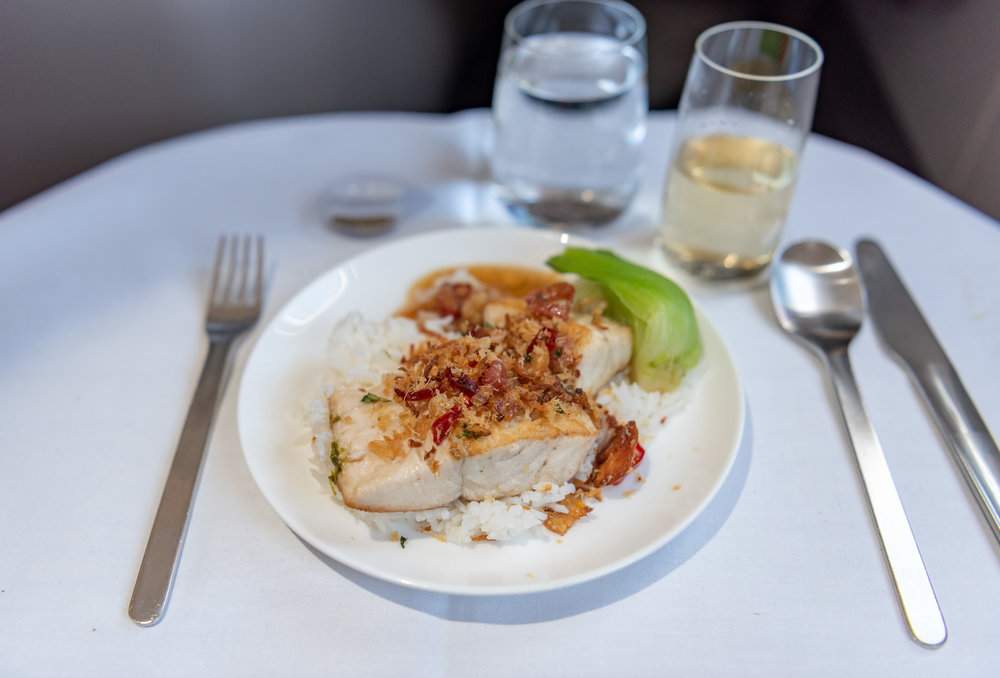 Seared Humpty Doo Barramundi with Bok Choy, Steamed Rice, Lap Cheong, Sesame, Shrimp and Ginger Sauce  Qantas Business Class QF37 A330-300 - MEL to SIN
