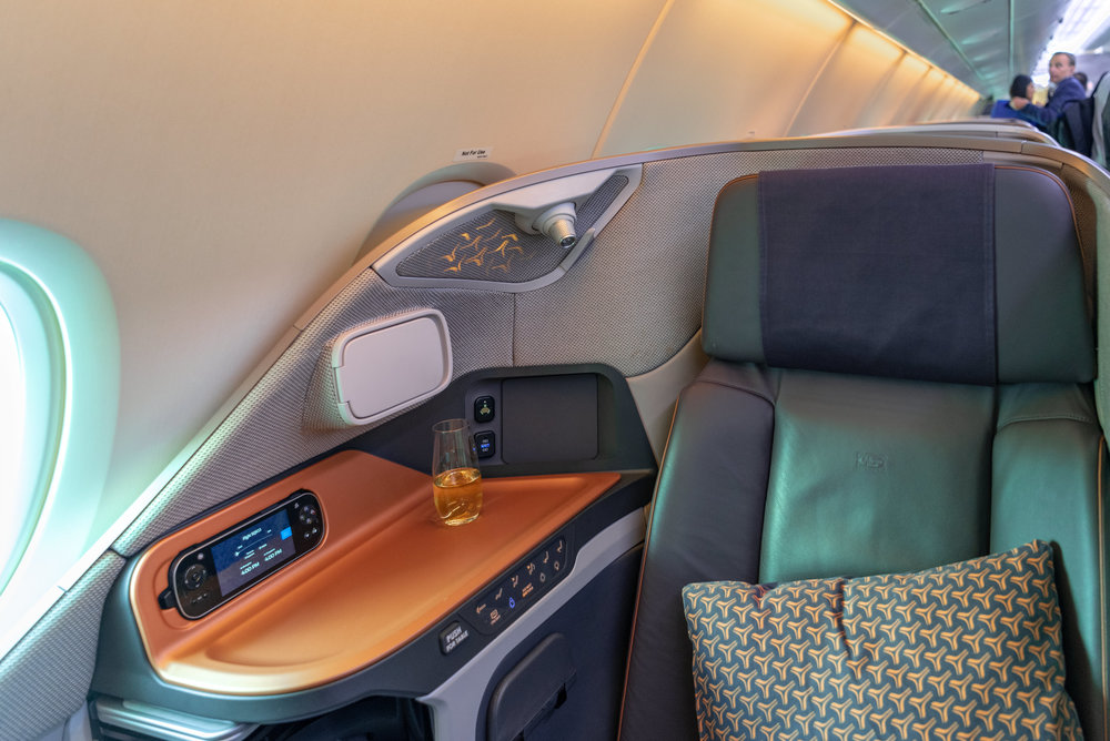 Seat 14K  Singapore Airlines Business Class SQ833 A380-800 - PVG to SIN