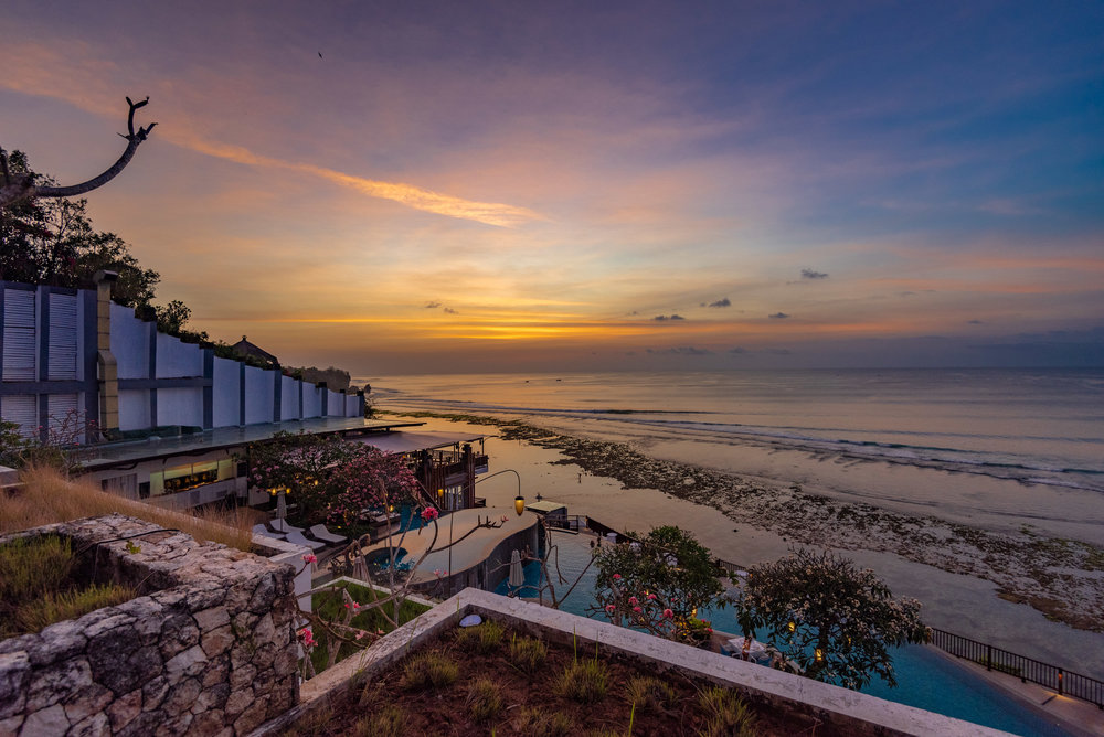 Sunset from the Private Balcony  Ocean Front Suite - Anantara Uluwatu Bali Resort