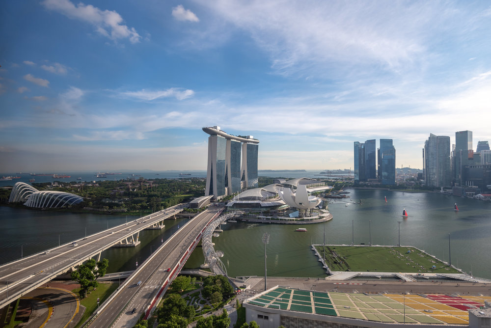 View from Bathtub  Club Deluxe Marina Room - The Ritz-Carlton, Millenia Singapore