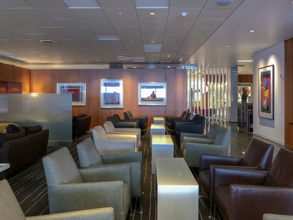 Seating Area near the Entrance  Qantas International Business Lounge - Auckland Airport (AKL)