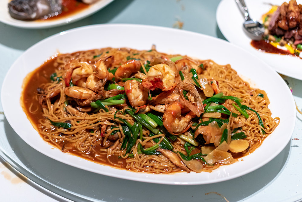 Braised King Prawn, Ginger and Spring Onion with Ee Fu Noodles  Madame Fan - The NCO Club