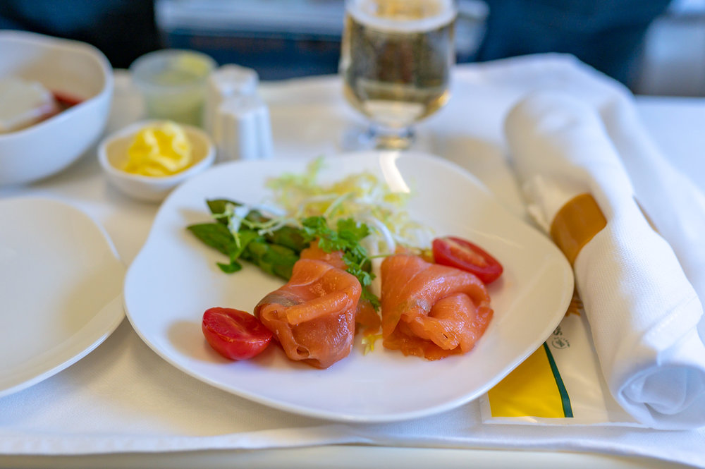 Smoked Salmon served with Wasabi Mayonnaise  Vietnam Airlines Business Class A321 VN662 - SIN to HAN