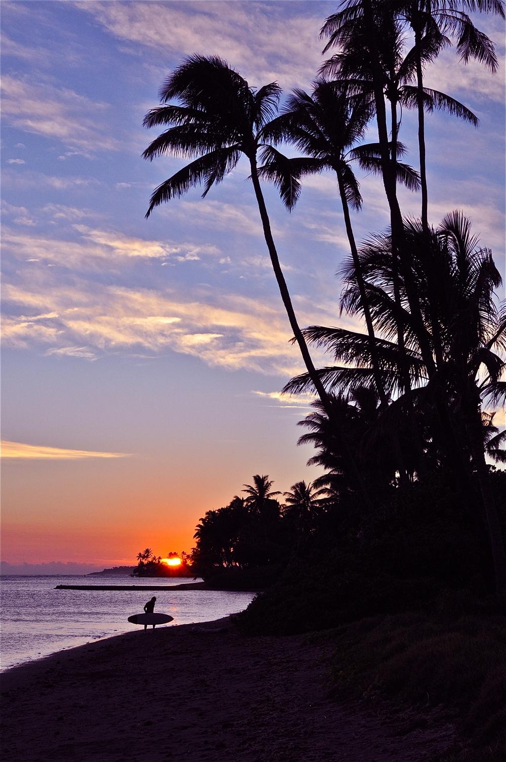 Oahu, Surfing, Sunset - A Pilot's Daughter