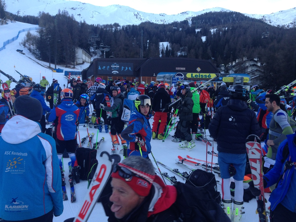 Italians aren't as precise about their timing as the Swiss. Racers waiting for the lift to open..