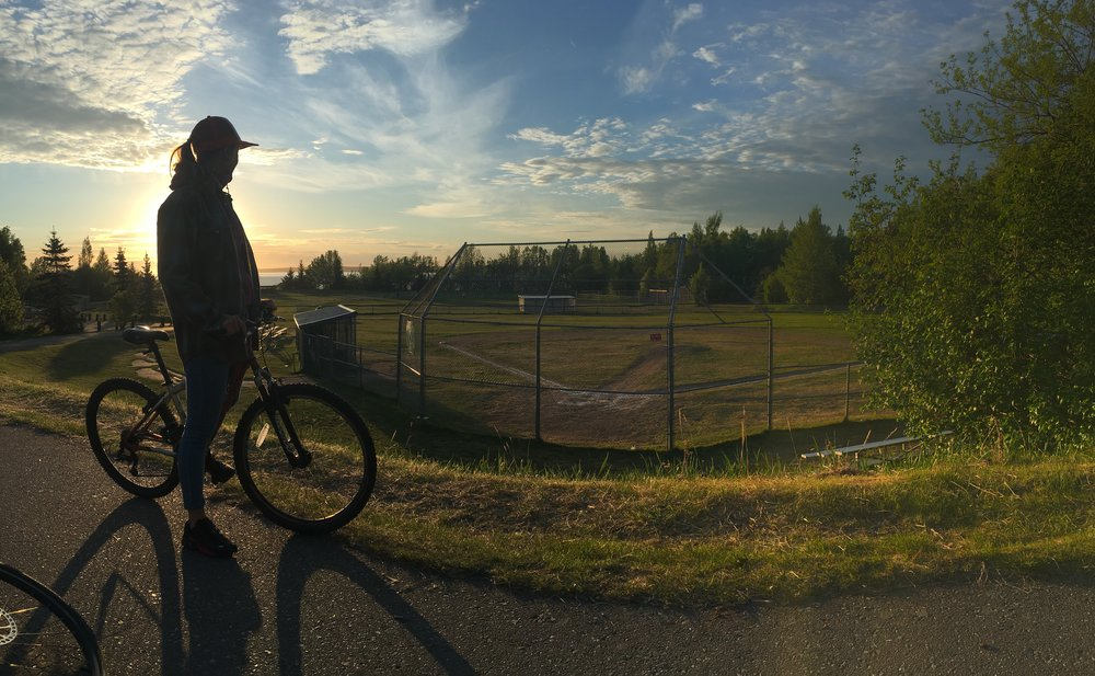 Josefin learning about all things good and  Lyn Ary park near my house  in Anchorage. The, birthplace of my childhood glory at shortstop.