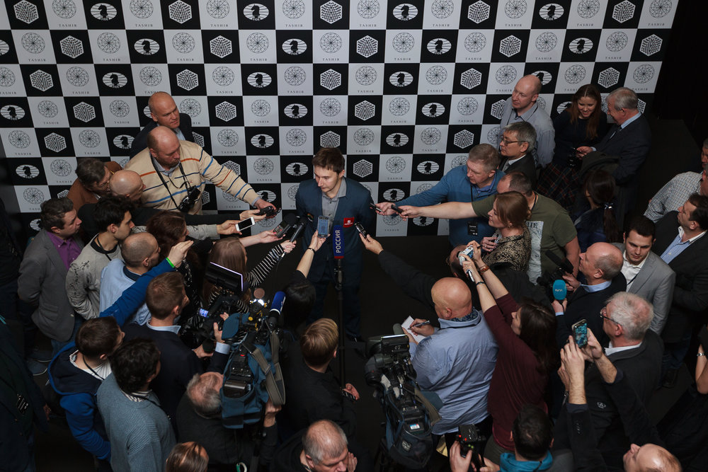 Sergey Karjakin, the winner of the 2016 Candidates Tournament in Moscow, gives his first remarks after the final round.