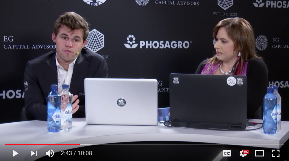 Judit Polgar and Magnus Carlsen - Judit talks to Magnus after his final round in the World Chess Championship in New York City.