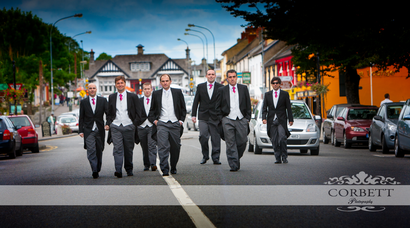 Cesar and his Groomsmen walking down Adare highstreet