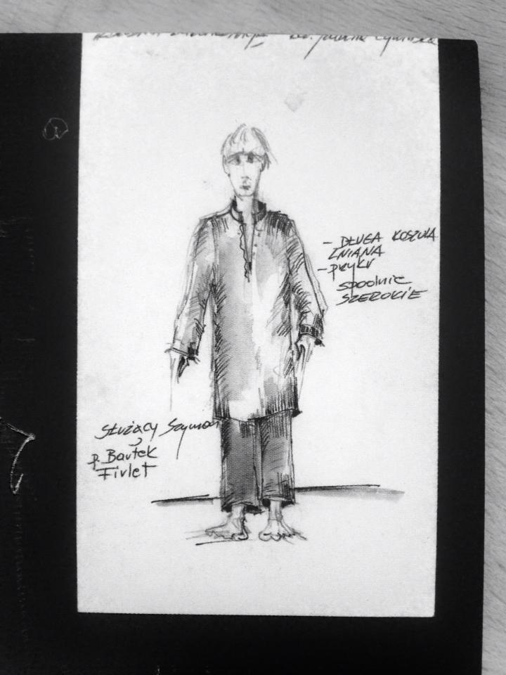 """To ja jako Szymon,przed premierą 2012. (Rysunek kostiumu do spektaklu """"Zbrodnia z Premedytacją"""" w reż.Izabeli Cywińskiej)"""
