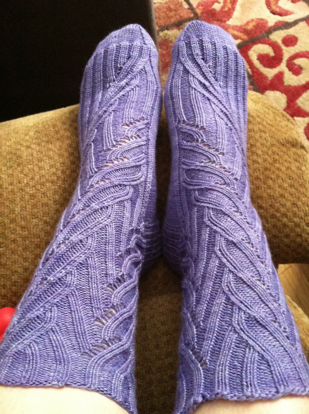 Though appearing in a more typical Lilac shade, I think the Coriolis Effect Socks by verybusymonkey would be a perfect pairing for Kilcoursie Fingering in my Lilac shade. Image courtesy of verybusymonkey.