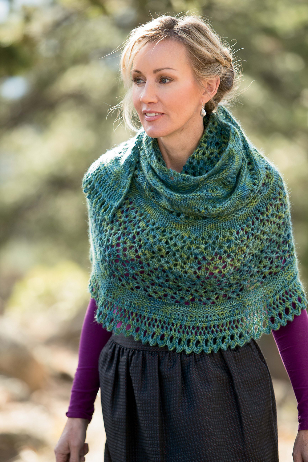 I love the softer nature of Redwood Peony on the Hennessy Bases. This worsted weight shawl would be lovely in Peony knit from the Hennessy Aran base. Image courtesy of Interweave Knits.