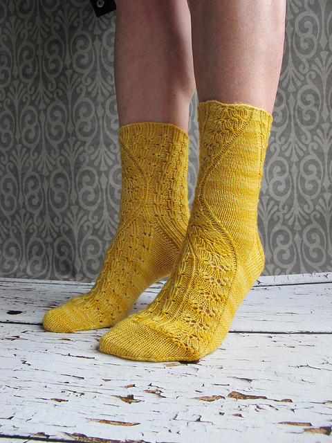 Does yellow near your face make you uneasy? The Conina Socks by Rachel Coopey is the perfect pattern for this yarn. Image courtesy of coopknits