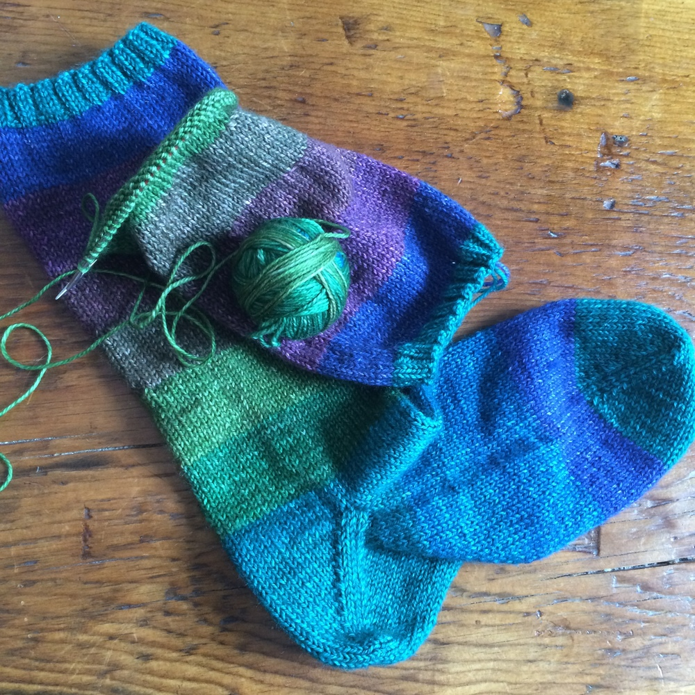 I typically always have a pair of socks on the needles.