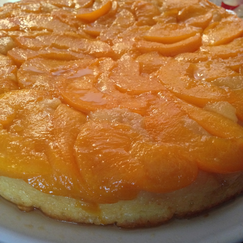 Our upside down peach cake ... an interpretation of a recipe by smitten kitchen.