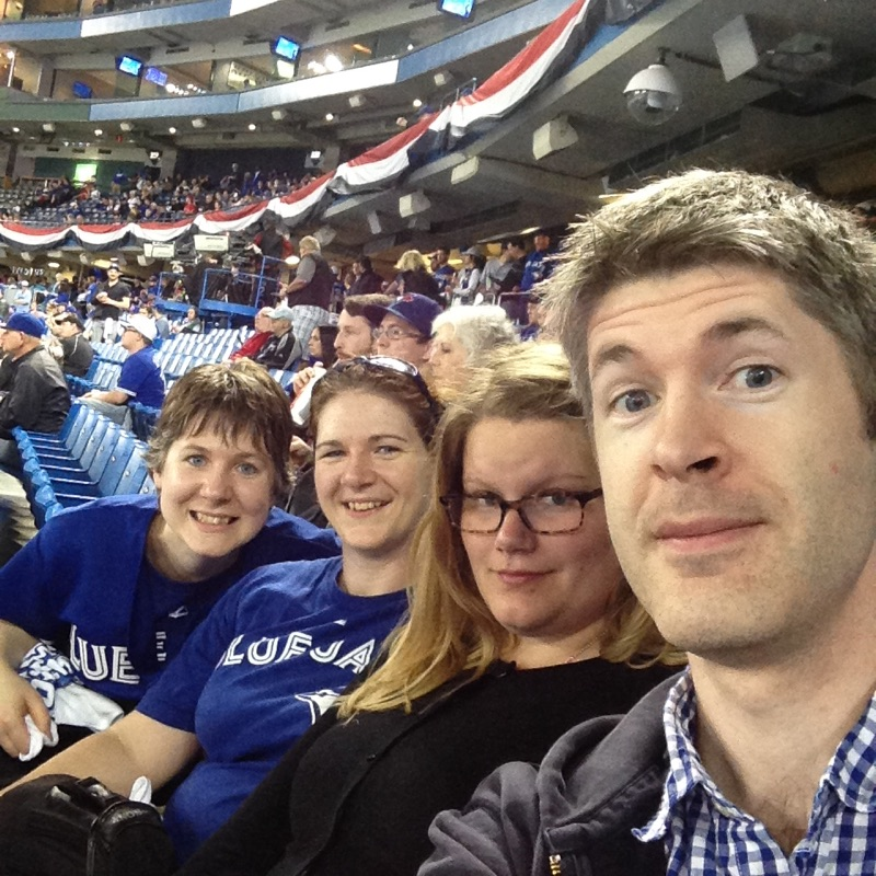 Here we are at the game, as you can see I seem super impressed. Its unclear if it was due to my husband and sisters-in-law love of selfies, or the fact that we got rained on all the way from Union Station.