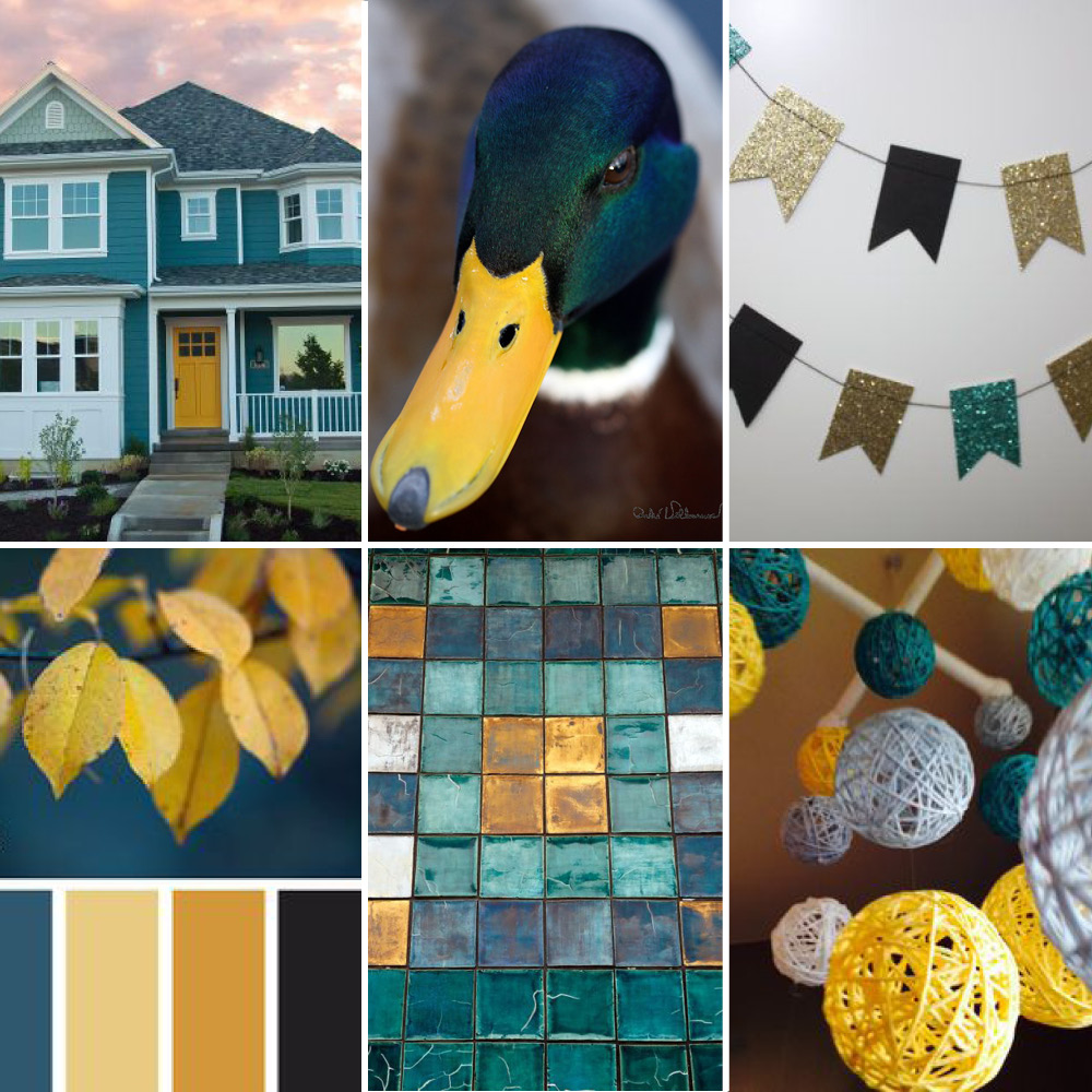clockwise from top left:  house ,  duck ,  banner ,  mobile ,  tiles ,  leaves