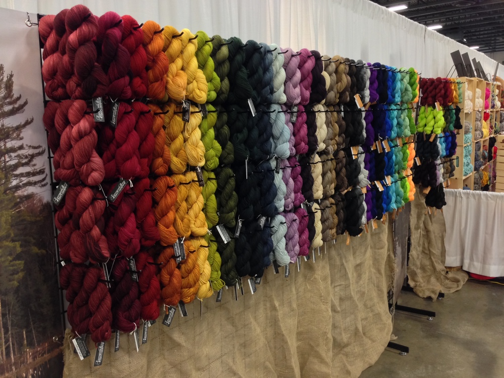 You can see in our KW display, we displayed two separate rainbows. Natural tones dyed on BFL on the left, and bright clear tones on superwash merino on the right. They just wouldn't play together nicely.